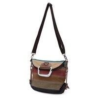 Fashion Design Women Canvas Striped Crossbody Bags Vintage Contrast Color Canvas Tote Handbags 2016 New