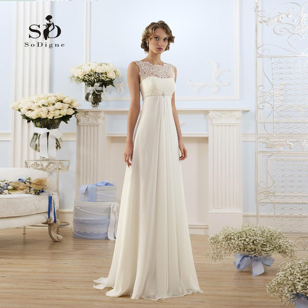 Robe de mariée en dentelle enceinte blanche/Lvory robe de mariée en mousseline de soie Simple Empire robe formelle à lacets nouveauté
