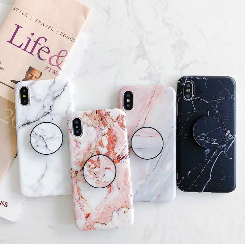 Ring air tasche Ständer halter marmor fall für iphone X XR XS XS Max Ausbau Stehen Grip fall für iphone 6 6s 7 8 7 plus