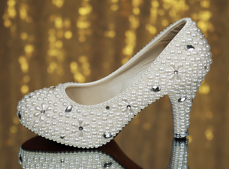 Rhinestone pearl crystal white wedding shoes wedding dinner single shoes handmade beading shoes font b women