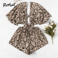 ROMWE с расклешенными рукавами с v-образным вырезом и узлом, принт змеиной кожи, короткая футболка с шортами, женские комплекты из двух предмет...