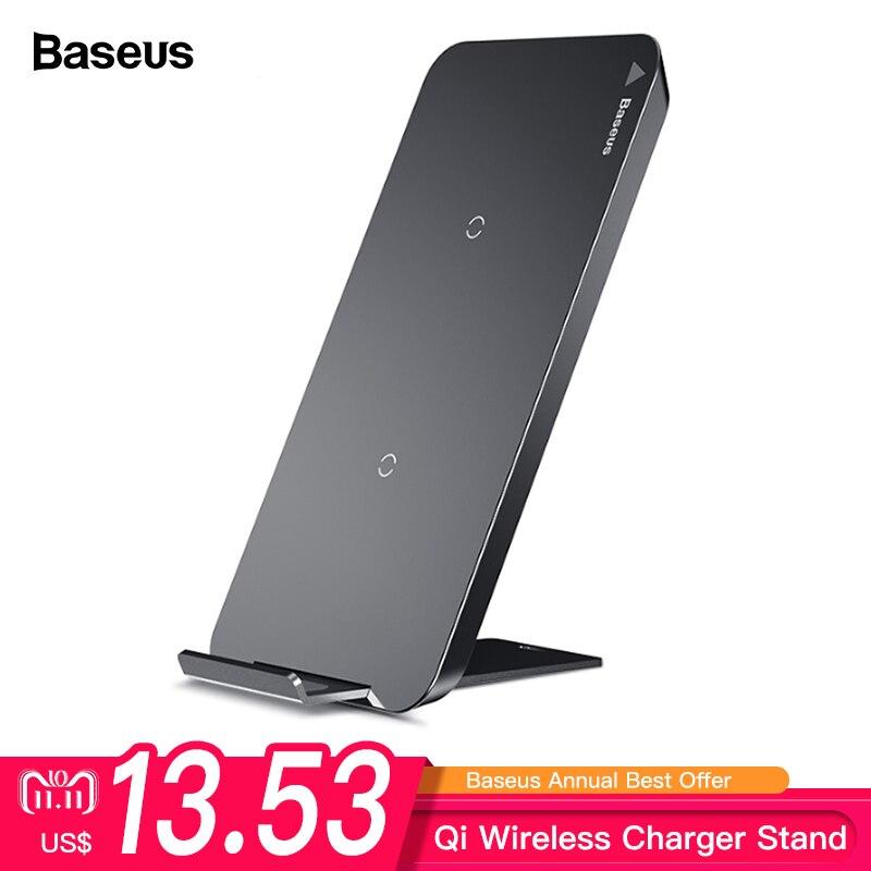 Baseus Qi cargador inalámbrico para iPhone X XS X Max XR 8 Samsung S9 S8 Nota 9 rápido inalámbrico plataforma de carga inalámbrica Docking estación Dock