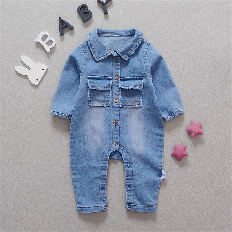 Baby Romper Soft Denim Fashion Rainbow And Giraffe Styles Infant Clothes Newborn Jumpsuit Babies Boy Girls Costume Cowboy Jeans