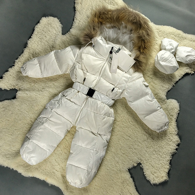 Baby Snowsuit Winter Jacket For Girls 3M 24M White Pink Black Blue Red Down Big Fur Coat Warm Newborn Snowsuit