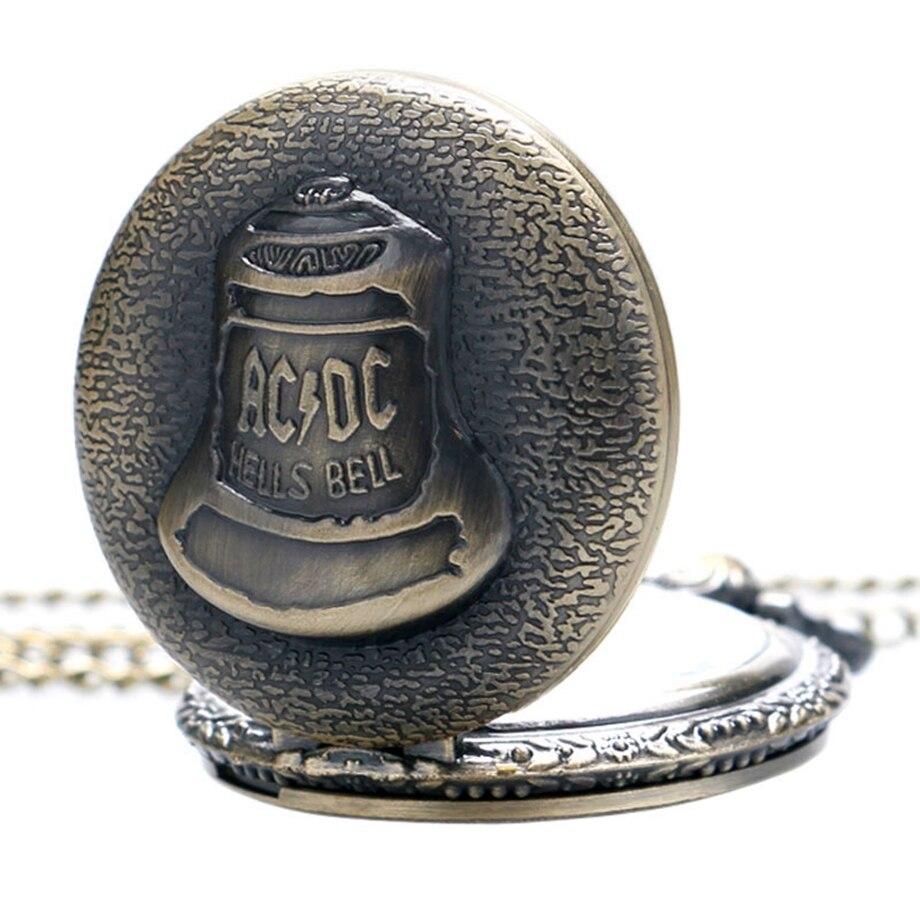 Antique Steampunk ACDC Hells Bell Quartz Pocket Watch Necklace Pendant Retro Men Women Xmas Gift (5)