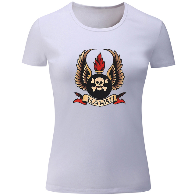 17835c15d4 US $9.17 46% OFF|Aliexpress.com : Buy Hawaii Skull vintage Sexy Girl Design  Womens Ladies Printing T shirt Graphic Tee Short sleeve Cotton Tshirts ...