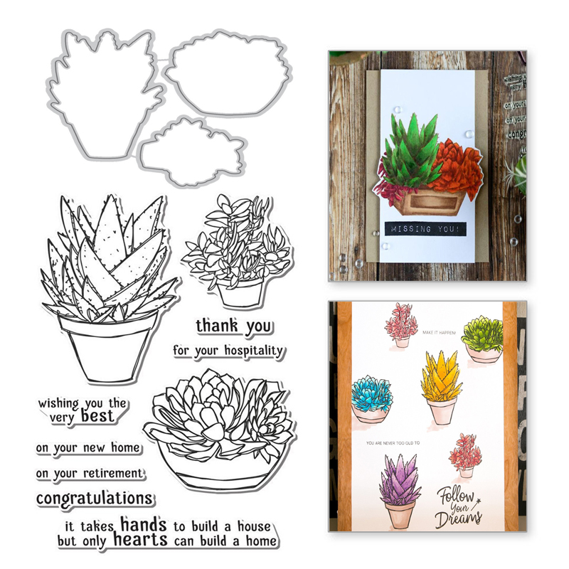 Naifumodo Plant Pot Stamps and Dies Aloe Scrapbooking Tropical Metal Cutting Dies Decoration Embossing Album Card Craft New 2019