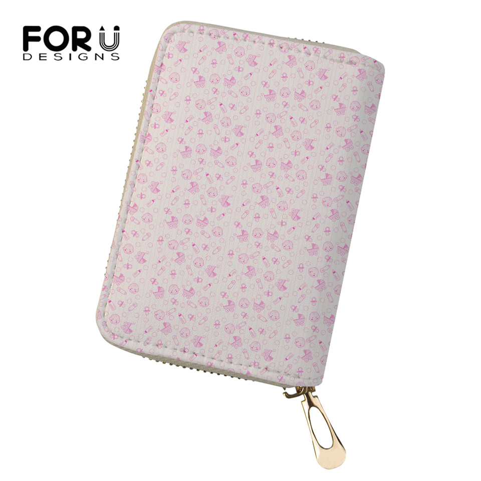 FORUDESIGNS Fashion Women Business PU Card Holder Little Animal Prints Girls Money Purses Cartoon Animal Pattern Cluth Wallets in Card ID Holders from Luggage Bags