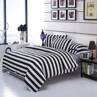 UNIKEA . . Double Color Bedding Sets Cotton Black White Style Bed Linen Quilt Cover Sheet 3/4 Twin Queen Beds