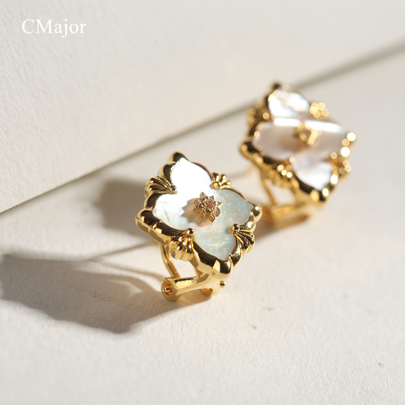 Cmajor Solid Silver White Four-leaf Clover Stud Earrings Vintage Palace Elegant Earrings For Women a suit of vintage rhinestone leaf necklace and earrings for women page 3