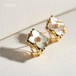 Cmajor Solide Silber Weiß Vier-leaf Clover Stud Ohrringe Vintage Palace Elegante Clip Ohrringe Geschenk Für Frauen