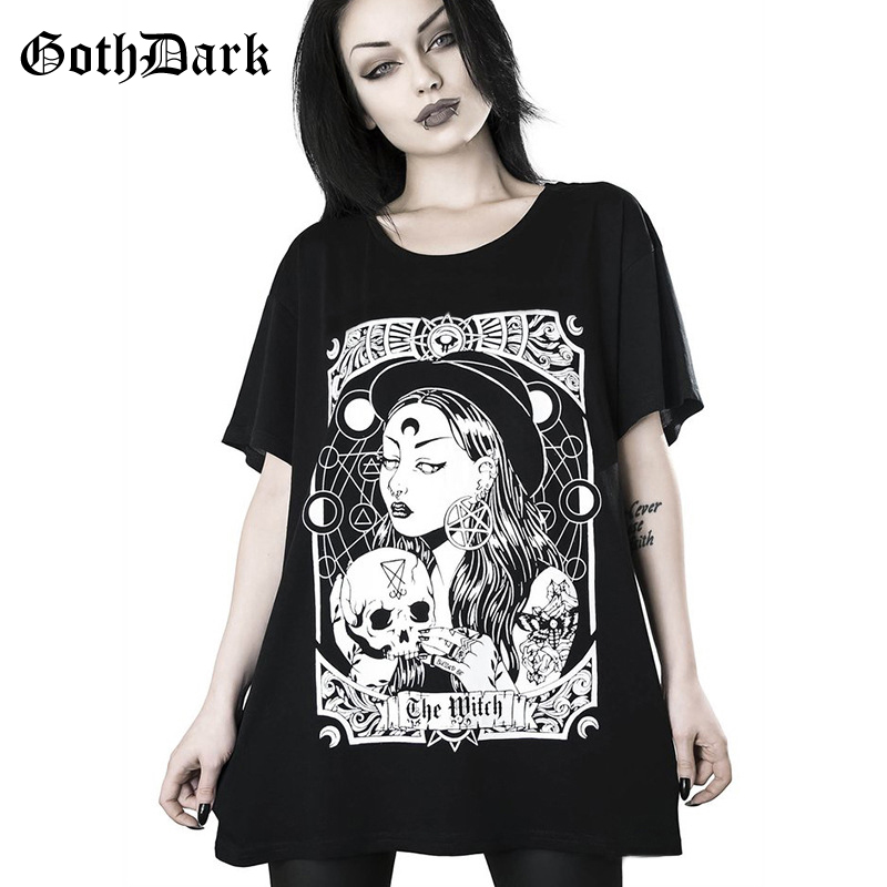 Goth Dark Black Loose Punk Grunge Gothic T-shrits Harajuku Vintage Autumn 2019 Fashion Print Female Tshirts Aesthethic Casual