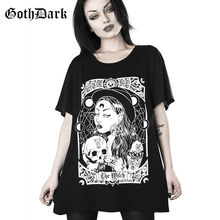 Goth Dark Black Loose Punk Grunge Gothic T-shrits Harajuku Vintage Autumn 2019 Fashion Print Female Tshirts Aesthethic Casual