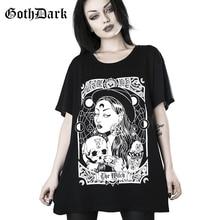 Camiseta gótica oscura suelta Punk Grunge gótico Harajuku Vintage moda Streetwear estampado Mujer Camisetas estético Casual