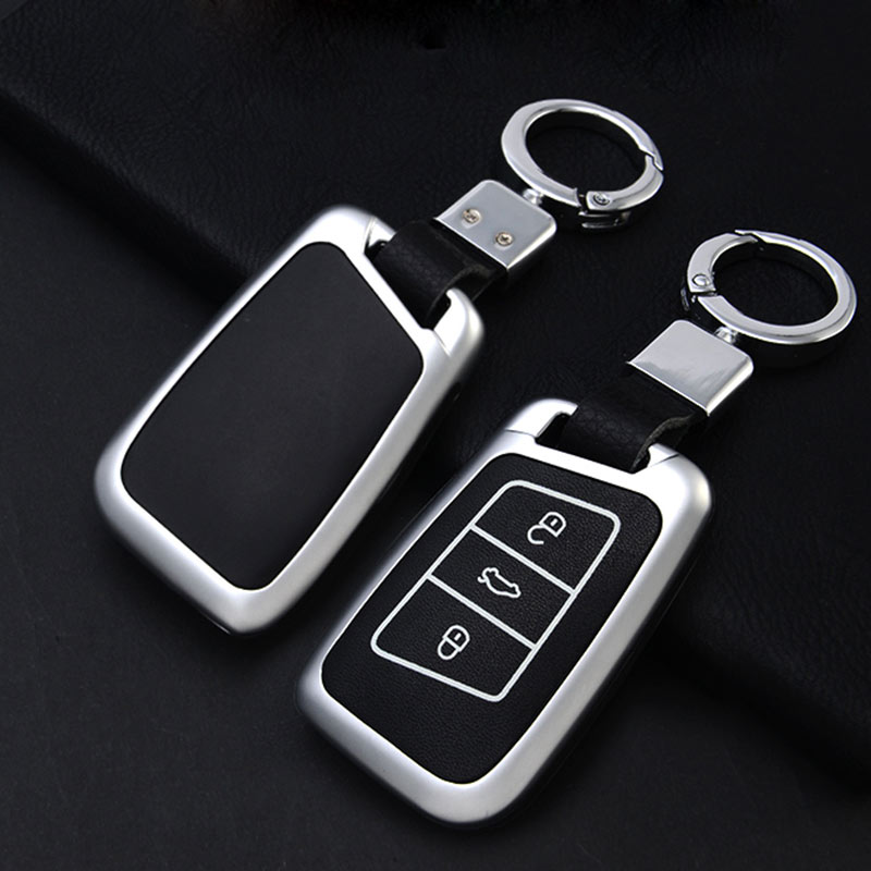 Image 2 - Zinc Alloy+Leather Key Case Cover For VW Polo Golf 7 Tiguan For Skoda Octavia Kodiaq Karoq For SEAT Ateca Leon Ibiza 2015-in Key Case for Car from Automobiles & Motorcycles