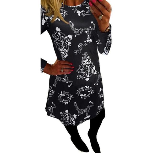 best selling beautiful women xmas print swing dress ladies christmas long sleeve flared short party dresses