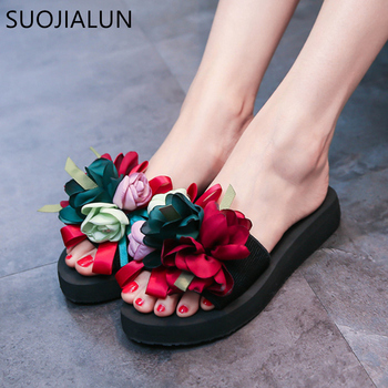 SUOJIALUN 2019 Summer Woman Shoes Women Flower Flip Flops Shoes Slippers Outside Sandals Mujer Beach Flats Slides Sandals sequins women slippers closed toe bling gladiator sandals flip flops glitter flats lady slides wedding shoes eyes sandalias 40