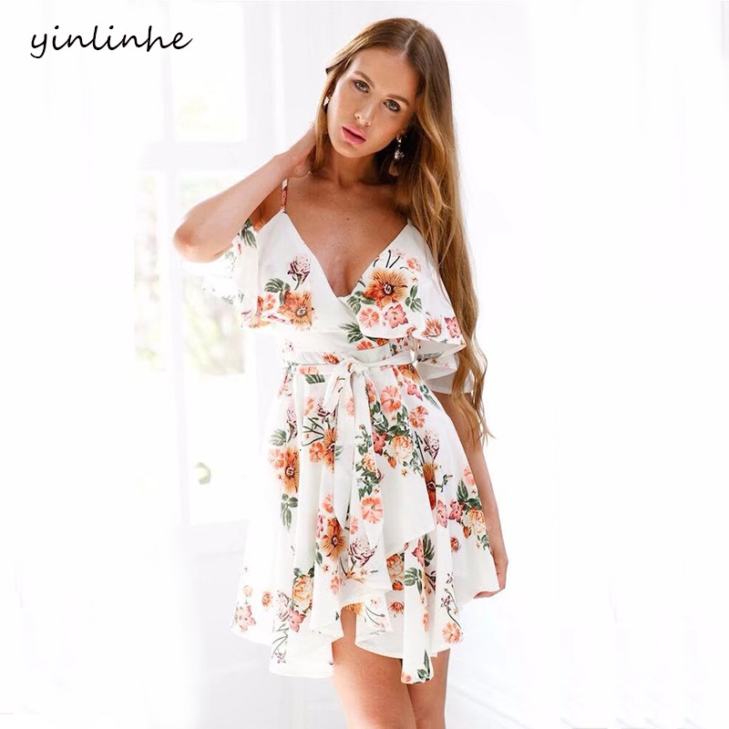 Yinlinhe White Floral Women Dress Short Sleeve V Neck Sexy
