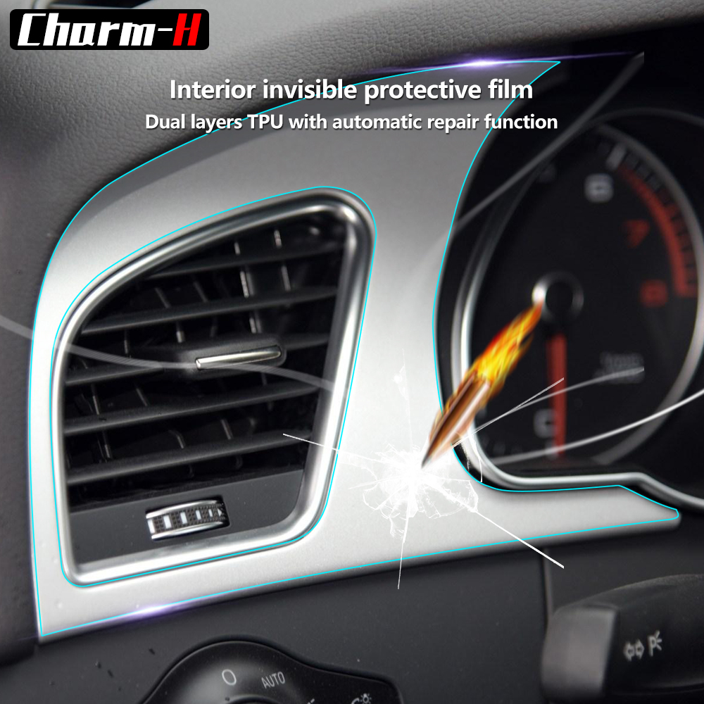 For Audi A5 2016 Car Styling Invisible Center Console Dashboard Gear Shift Door Panel Protective Film Accessories 2016 mini clubman one coopers side door power window switch center console panel covers accessories car stickers for f54 6 door page 7