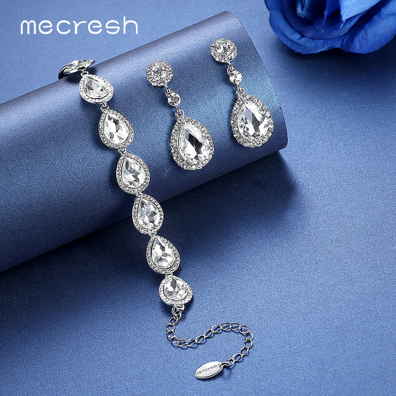 Brautschmuck armband silber  Aliexpress.com : Mecresh Kristall Brautschmuck Sets Silber Farbe ...