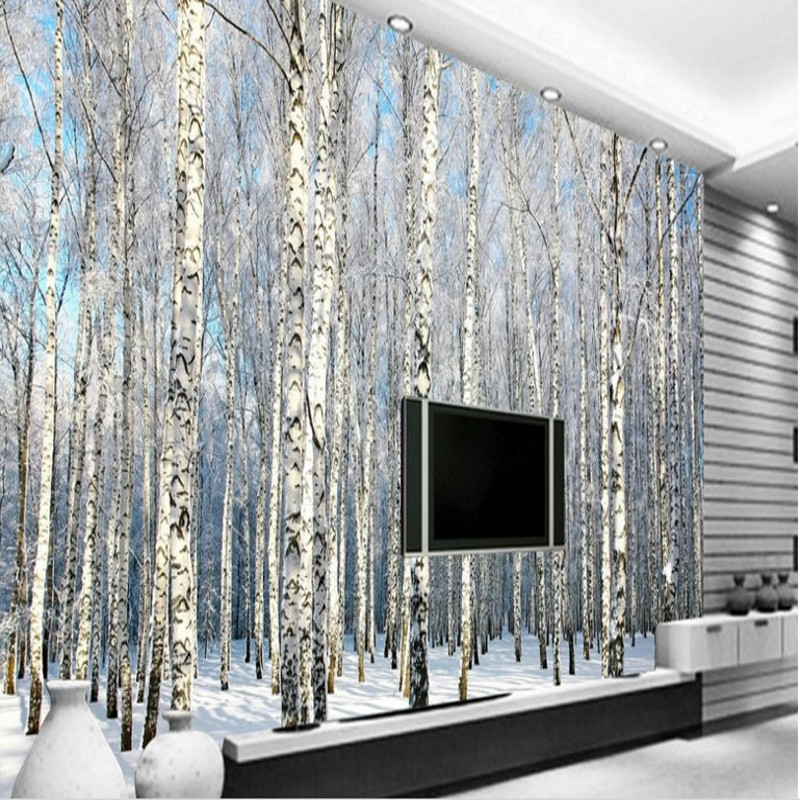 Beibehang Large Custom Wallpaper White Birch Forest Snow Scenic Living Room  Bedroom TV Background Wall Home Decoration In Wallpapers From Home  Improvement ...