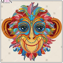MOONCRESIN Diy Diamond Painting Cross Stitch Colorful Monkey Head Diamond Mosaic Full Round Square Diamond Embroidery Decoration mooncresin diy diamond painting cross stitch cartoon monkey diamond mosaic full round