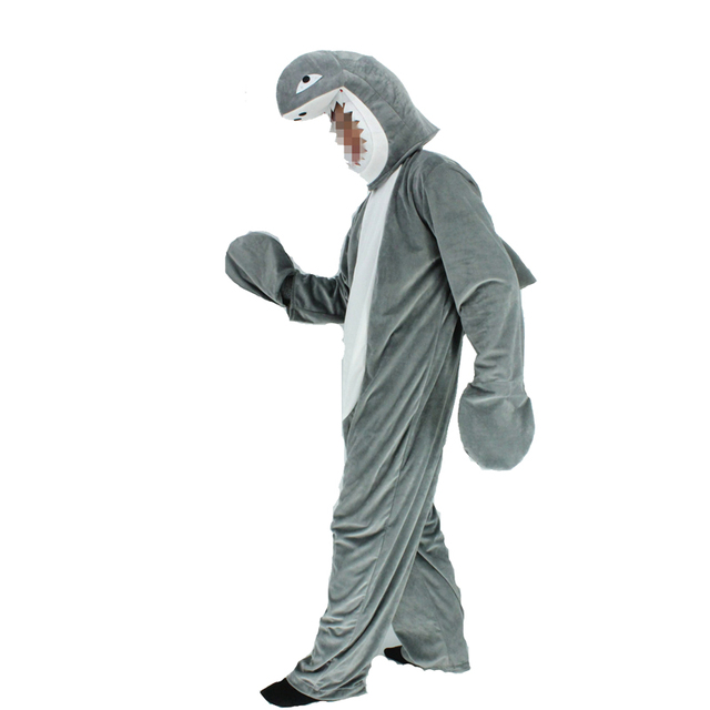 adult shark costume pyjamas cute mascot gray shark funny cosplay fleece fullbody animal party halloween costumes