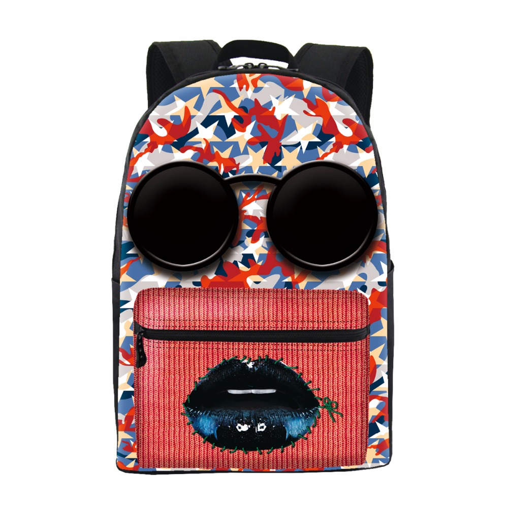 ФОТО ONE2 Design Sunglasses face pattern polyester custom latest fashion backpack colourful printing pattern high school backpack