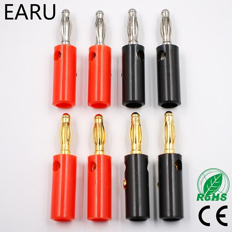 20PCS Red black Copper Gilded 2mm Banana Plug for Binding Post jack Test Probes