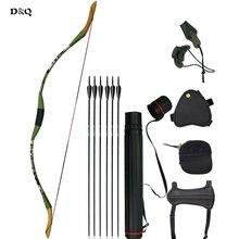Tradiční Recurve dřevěné Bow Set pro Lady Mládež Děti Děti Venkovní Lov Střelba Cílová praxe Sport Prapor Longbow