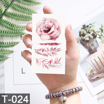 Flower tattoo Fake temporary tattoos stickers rose flowers arm shoulder tattoo waterproof ledy women on body image