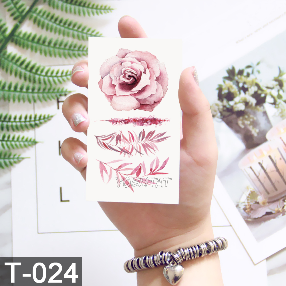 Flower Tattoo Fake Temporary Tattoos Stickers Rose Flowers Arm Shoulder Tattoo Waterproof Ledy Women On Body