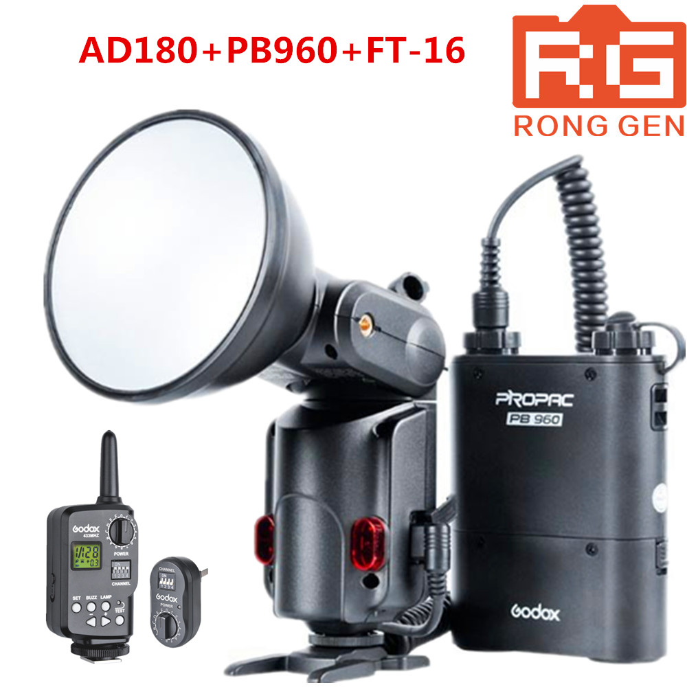 GODOX Witstro AD-180+PB960 180W GN60 External Portable Flash Light Speedlite with PB960 Lithium Battery Pack Kit for Canon Nikon free tax to russia new 42cm godox ad s3 beauty dish with grid for witstro speedlite flash ad180 ad360