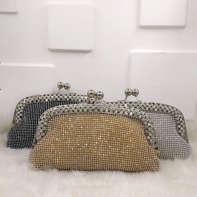 silver Da gold Sacchetto Progettista Di Frizioni Cristallo Festa Clutch Morbido Cross Black Signore Delle Bag Nozze Sposa Brillante Donne Diamanti Clutch Borse Body Clutch fABvxq