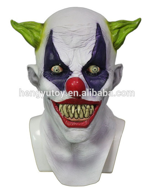 halloween party cosplay funny latex scary clown mask jester joker face mask costume dress