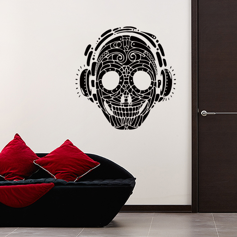 2015 new design art cheap home decoration vinyl music skull wall sticker removable PVC cool skeleton decal in bedroom or shop
