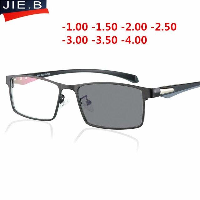 2018 Aro Completo óculos de Sol Fotocromáticas óculos de Miopia Homens estudante Terminou Miopia Óptico Óculos de Armação Dos Óculos de prescrição-1.0-4.0