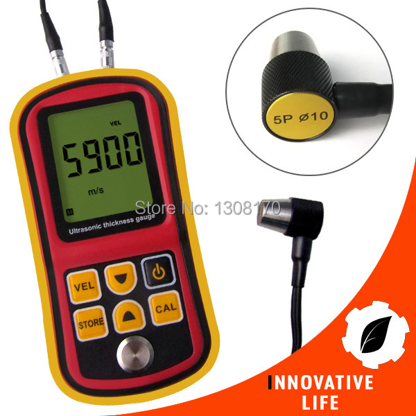 Digital Ultrasonic Wave Velocity Thickness Meter  1.2~225.0mm (Steel) Range Metal and Non-Metal Tester Gauge range 1 2 220mm steel digital ultrasonic cotating thickness tester thickness gauge