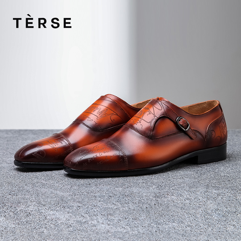 92ef0cf7f A Grabado Zapatos Terse Welted wholesale 3 3 Monje Calzado Hombres Precio  Cuero De Gray 1516 burgundy Mano ...