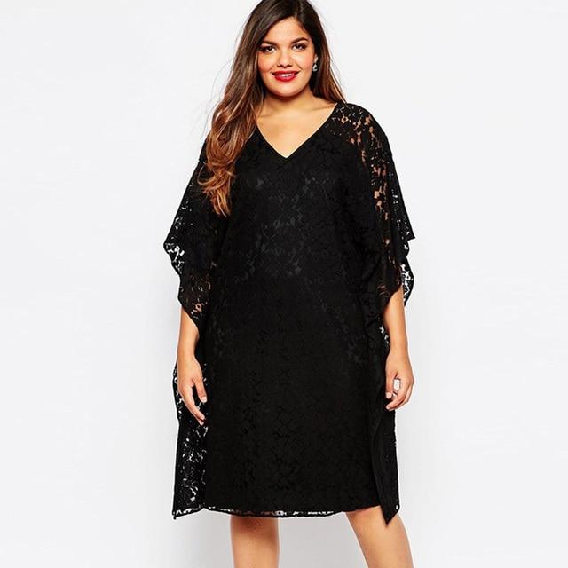 Plus size 5xl mulheres summer fashion dress womens batwing luva frouxo tamanho grande preto full lace casual vestidos soild zd1290