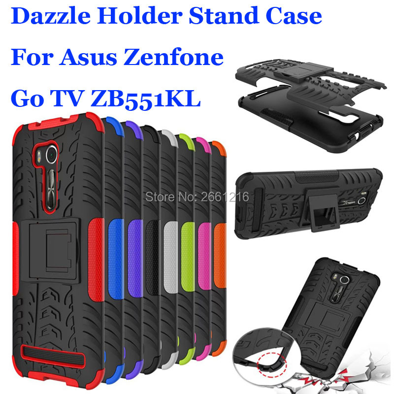 ZB551KL Dazzle Shockproof Soft Silicon & Hard Plastic Dual Armor Back Case Stand Holder Cover For Asus Zenfone Go TV 5.5 ZB551KL