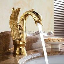 Роскошные меди горячей и холодной воды краны лебедь золотой готовые бассейна кран смесители G1081