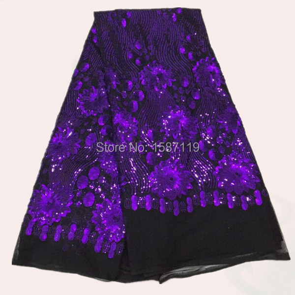 Noble design black+ purple French net Lace Fabric with sequins and flower for dress FN1-1 African organza lace cloth
