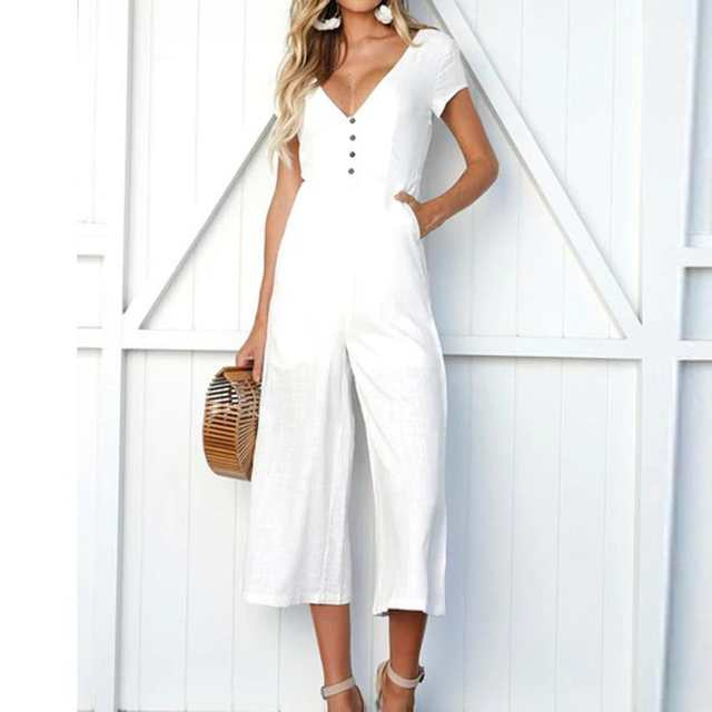 b823065afd077 US $8.38 42% OFF|2018 summer womens romper V Neck Short Sleeve Strappy  Holiday Long Playsuits Trouser Jumpsuit mamelucos womens jumpsuit C30814-in  ...