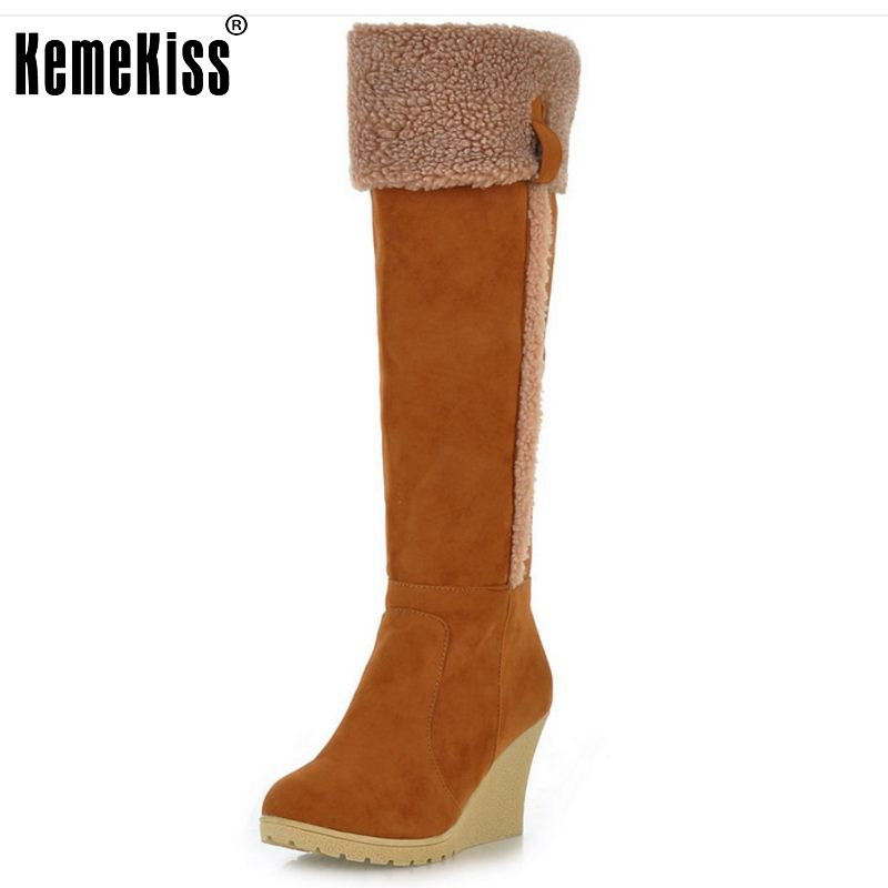 Winter Snow Boots Wedges Knee-high Slip-resistant Boots Thermal Female Cotton-padded Shoes Warm Plush Shoes Size 34-39