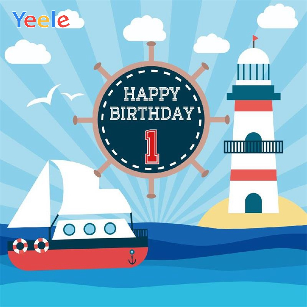 Yeele Vinyl Sea Boat Lighthouse Children 1st Birthday Party Photography Background Boy Baby Photographic Backdrop Photo Studio in Background from Consumer Electronics