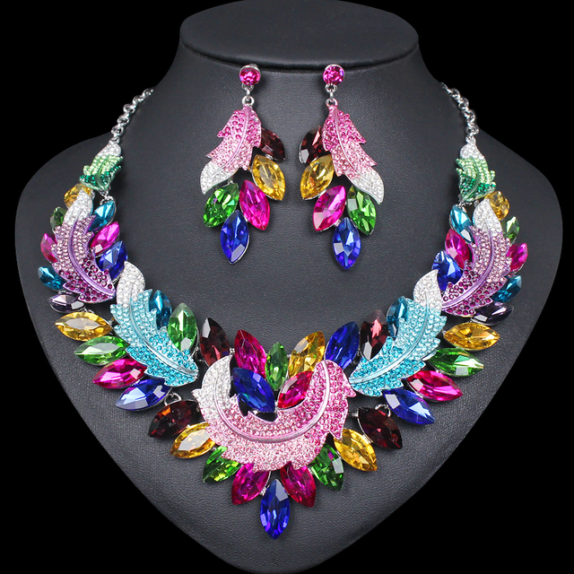 Hesiod Indian Wedding Jewelry Sets Gold Color Full Crystal: Luxury Multi Color Crystal Necklace And Earrings Sets