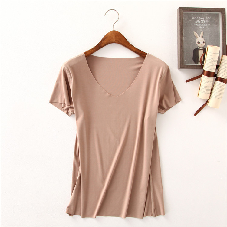 b8e288f5ed57 Women Essential T Shirt Basic Short Sleeve V Neck Tops Tees Solid Color  Unfinished Viscose Stretch Top-in T-Shirts from Women's Clothing on  Aliexpress.com ...