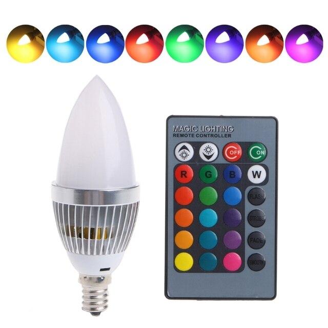 E12/E14 3 W RGB Led lampen 15 Kleuren Veranderen Kaars Lamp Lamp w ...