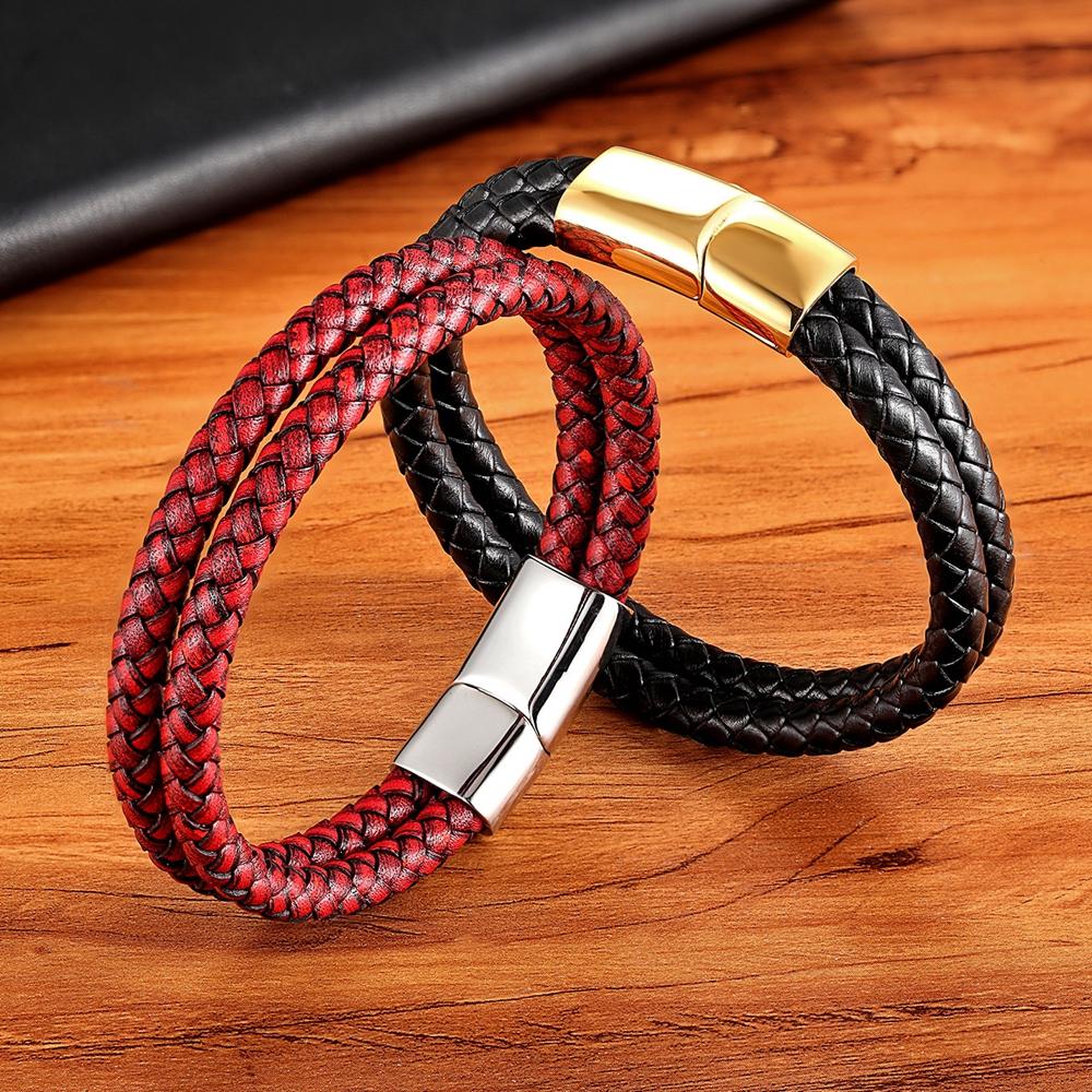 XQNI New Vintage Leather Bracelet Gold Easy Hook Double Layer 6 Colors Multi Choice Genuine Leather Bracelets For Men Women Gift